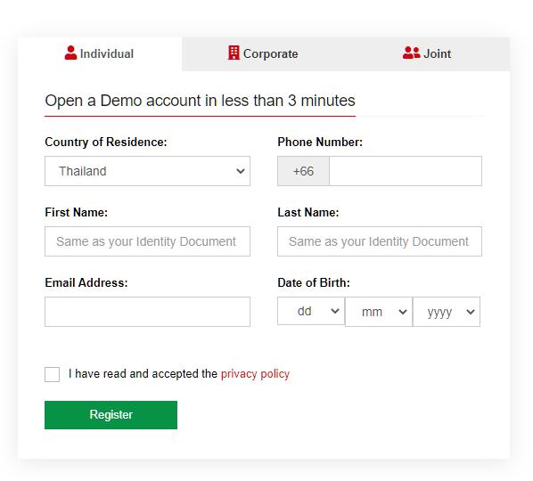 HotForex demo account. user registration
