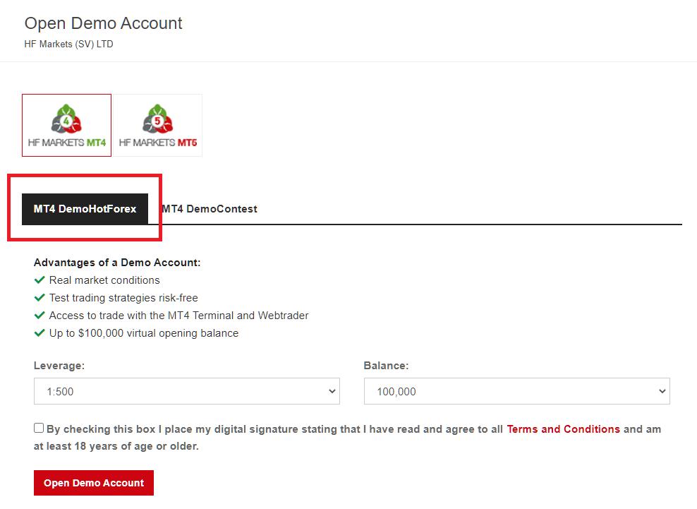 HotForex demo account. demo account settings