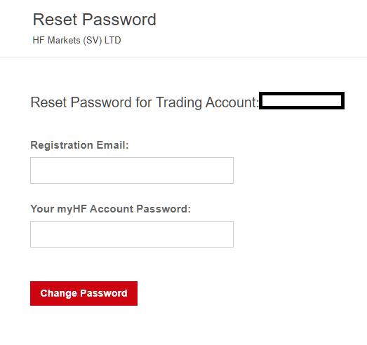 HotForex MT4/MT5, reset password