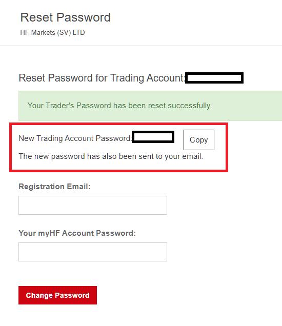 HotForex MT4/MT5, new password