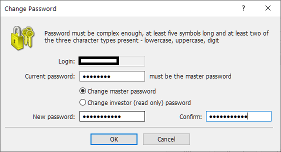 HotForex MT4/MT5, change password
