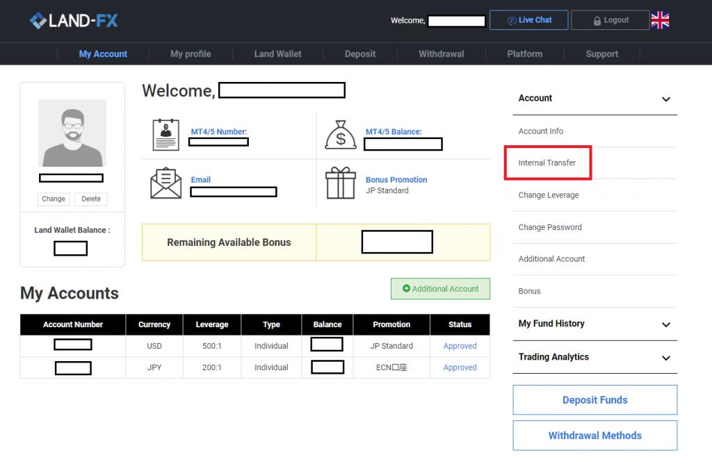 landfx additional account, internal transfer
