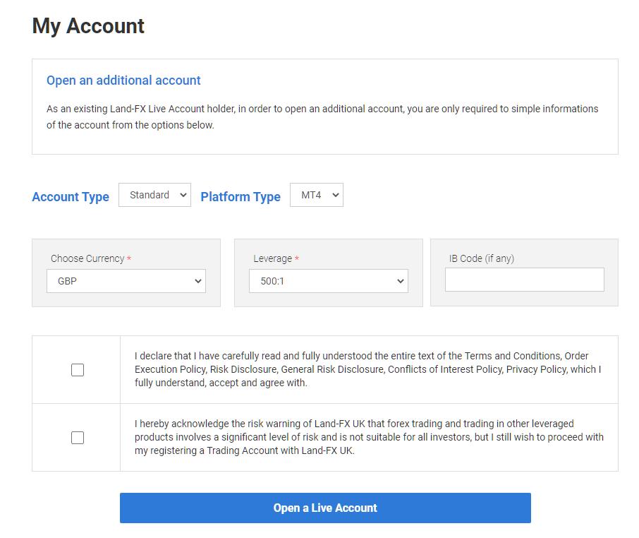 landfx additional account, account settings