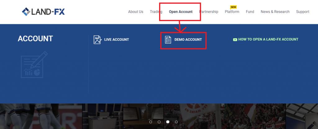 LAND-FX demo account, open demo account