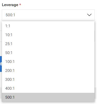 LAND-FX demo account, select leverage