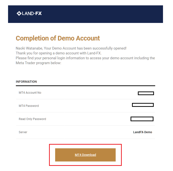 LAND-FX demo account, completion of demo account