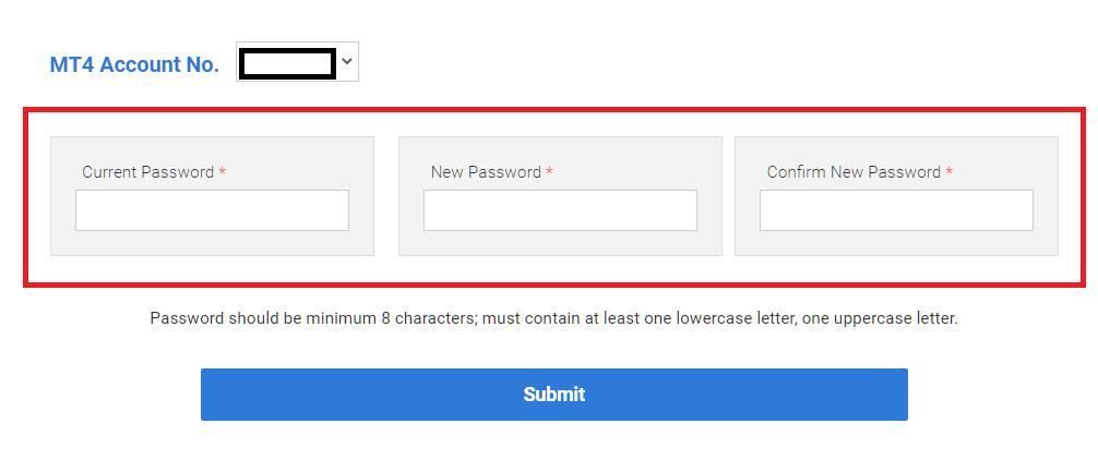 LAND-FX MT4/MT5, change password from mypage
