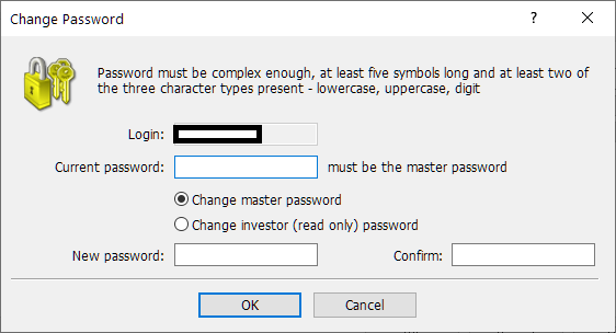 LAND-FX MT4/MT5, change password from MT4/MT5