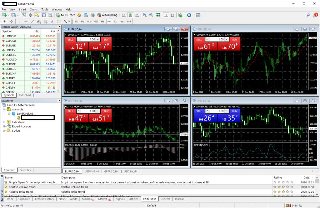 LAND-FX MT4/MT5, login successful