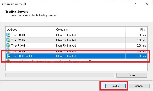 TitanFX demo account, select MetaTrader server