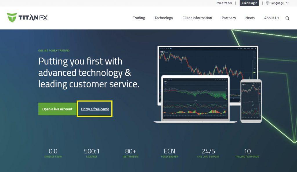 TitanFX demo account, top page