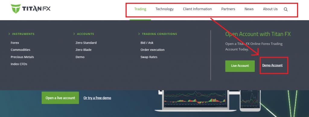 TitanFX demo account, top page menu