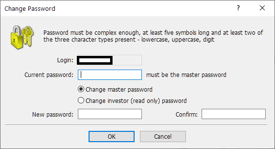 TMGM (TradeMax) MT4/MT5, change password on MT4