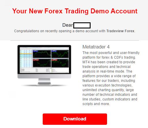 Tradeviewのデモ口座、申請完了メール