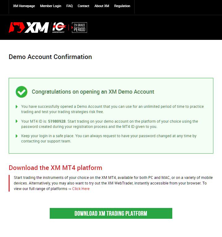 XM demo account, demo account has been opened