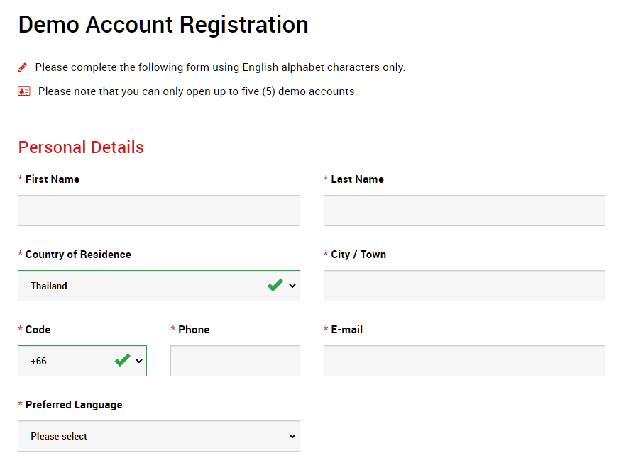 XM demo account, demo account registration