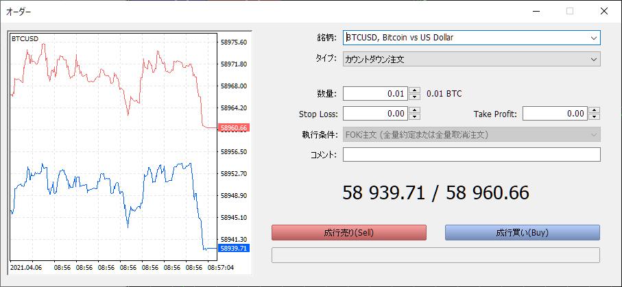 FXGTで仮想通貨をトレードする方法(PC版)、注文ボード