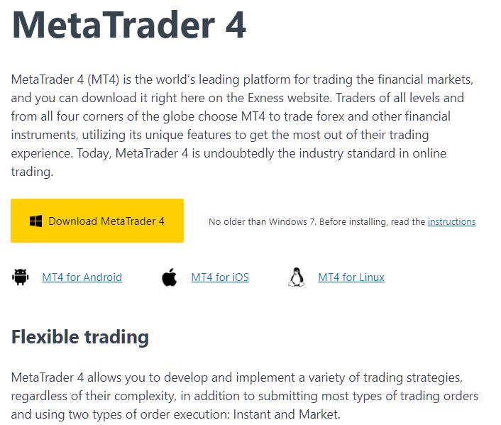 Exness download Meta Trader