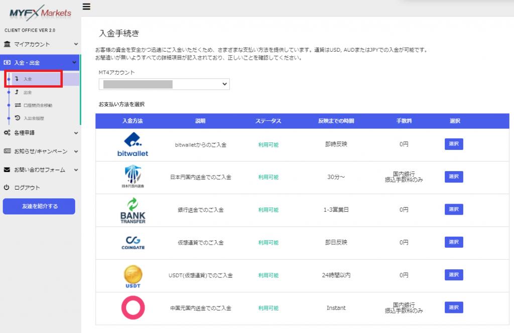 MYFX Markets 入金